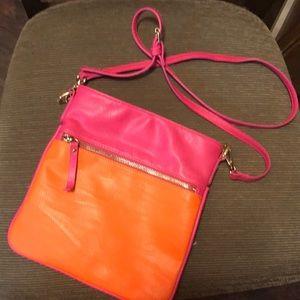 Pink and orange crossbody purse!